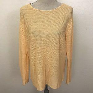 Eileen Fisher 100% Linen Orange Sweater Size M